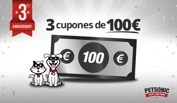 ¡3 CUPONES DE 100€! ¡FELIZ CUMPLEAÑOS, PETSONIC!